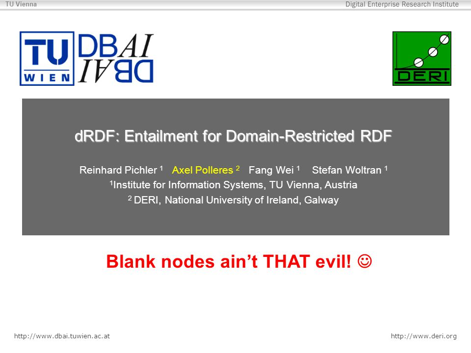 http://www.dbai.tuwien.ac.at http://www.deri.org TU Vienna dRDF: Entailment for Domain-Restricted RDF Reinhard Pichler 1 Axel Polleres 2 Fang Wei 1 Stefan Woltran 1 1 Institute for Information Systems, TU Vienna, Austria 2 DERI, National University of Ireland, Galway Blank nodes are fun (at least for theoreticians) Blank nodes ain't THAT evil!