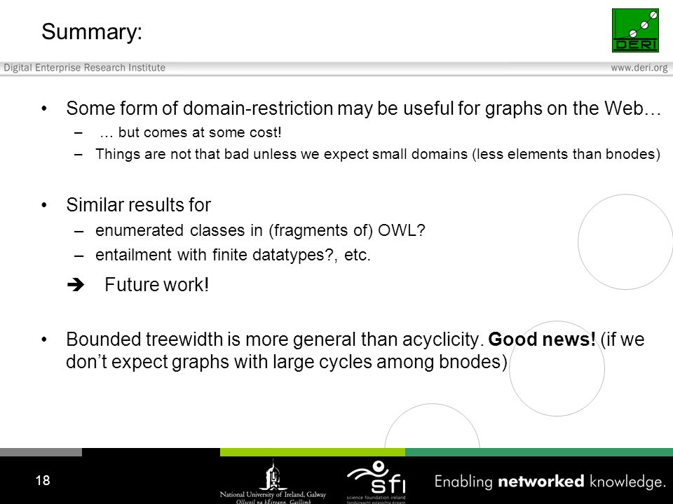 Summary: Some form of domain-restriction may be useful for graphs on the Web… – … but comes at some cost.