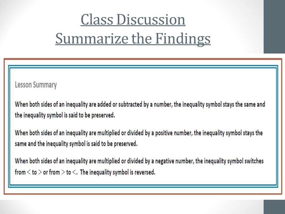 Class Discussion Summarize the Findings To summarize, when did the inequality change and when did it stay the same.