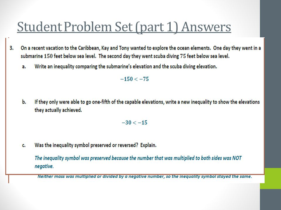 Student Problem Set (part 1) Answers