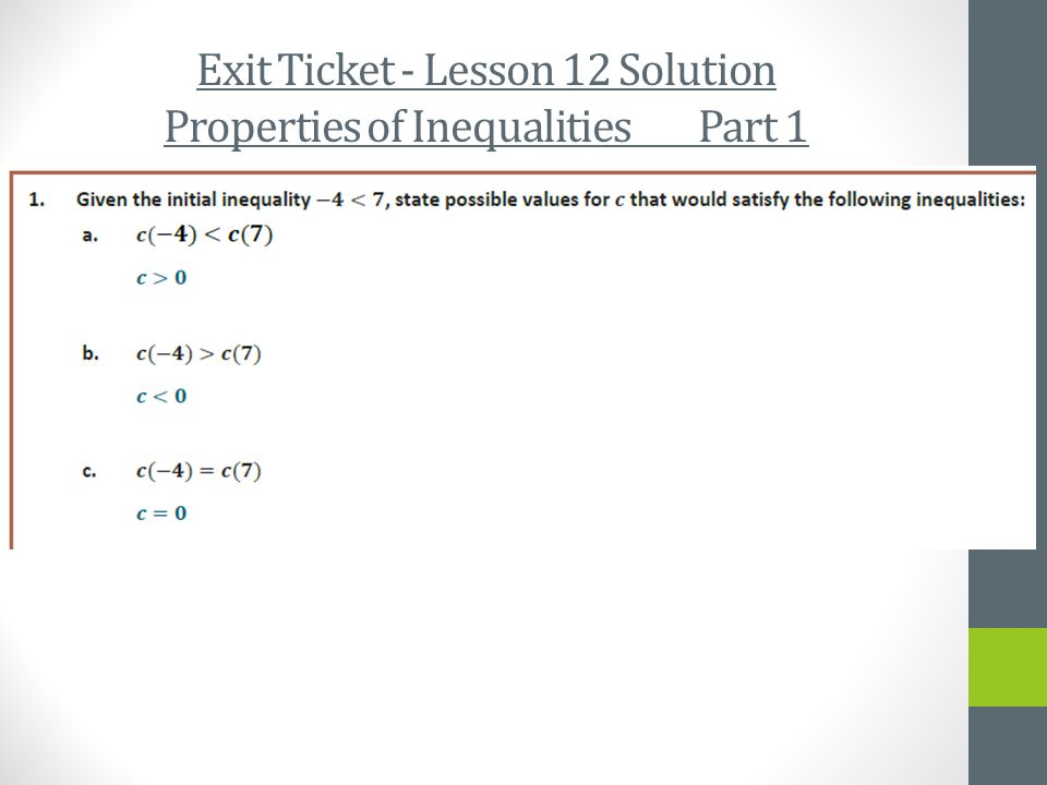Exit Ticket - Lesson 12 Solution Properties of Inequalities Part 1