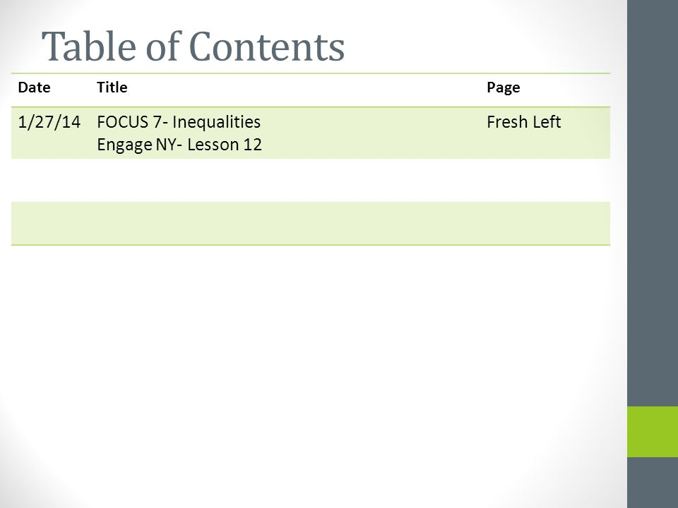Table of Contents DateTitlePage 1/27/14FOCUS 7- Inequalities Engage NY- Lesson 12 Fresh Left