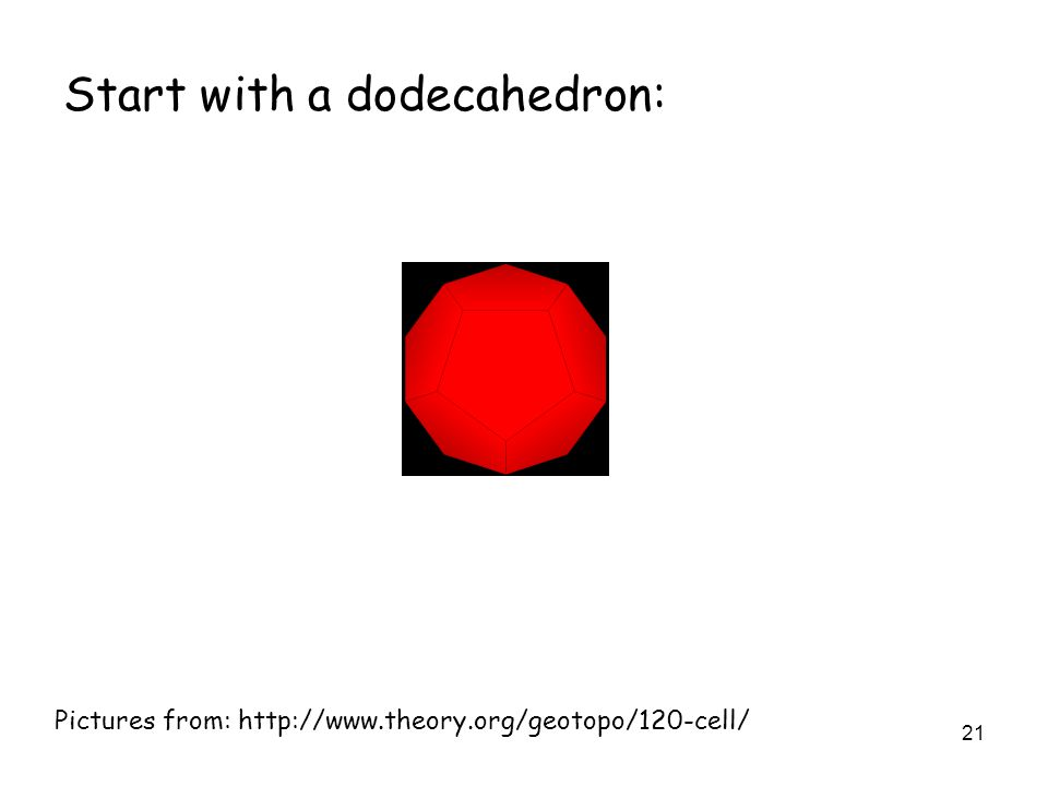 21 Pictures from: http://www.theory.org/geotopo/120-cell/ Start with a dodecahedron: