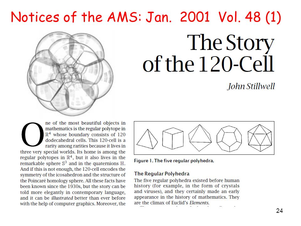 24 Notices of the AMS: Jan. 2001 Vol. 48 (1)