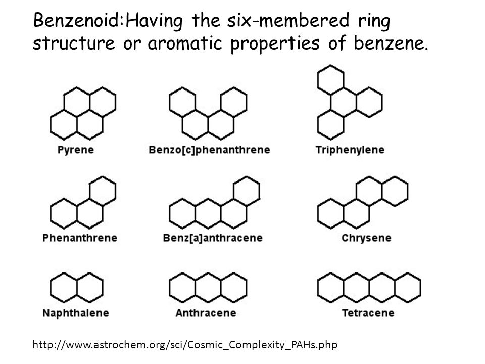 Benzenoid:Having the six-membered ring structure or aromatic properties of benzene.