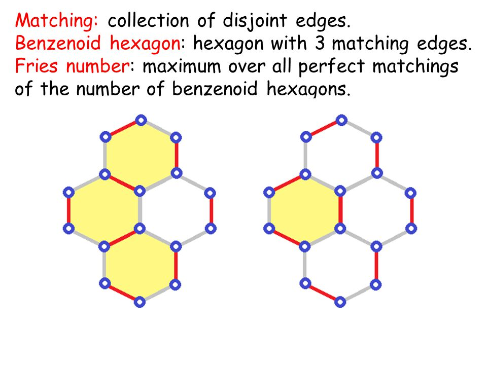 Matching: collection of disjoint edges. Benzenoid hexagon: hexagon with 3 matching edges.