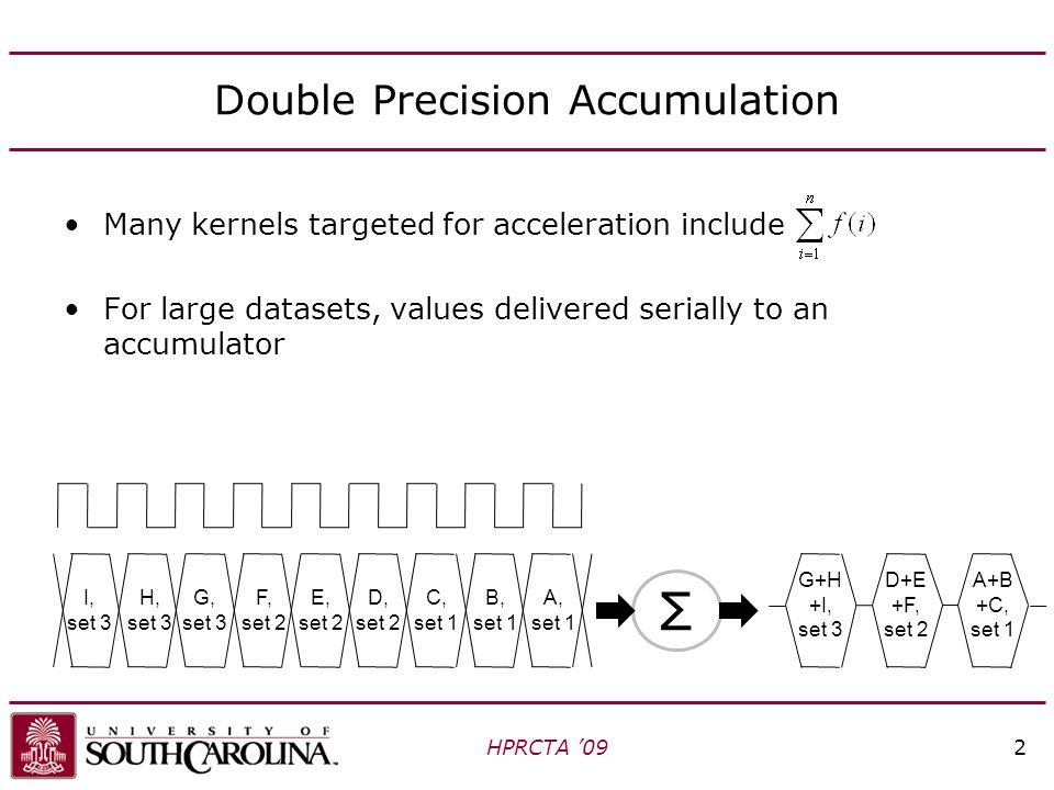 New SpMV Architecture HPRCTA '0923 Delete tree, replicate accumulator, schedule matrix data: 400 bits