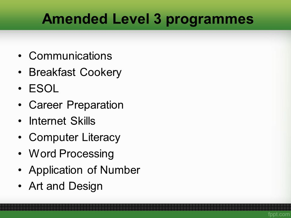Amended Level 3 programmes Communications Breakfast Cookery ESOL Career Preparation Internet Skills Computer Literacy Word Processing Application of Number Art and Design