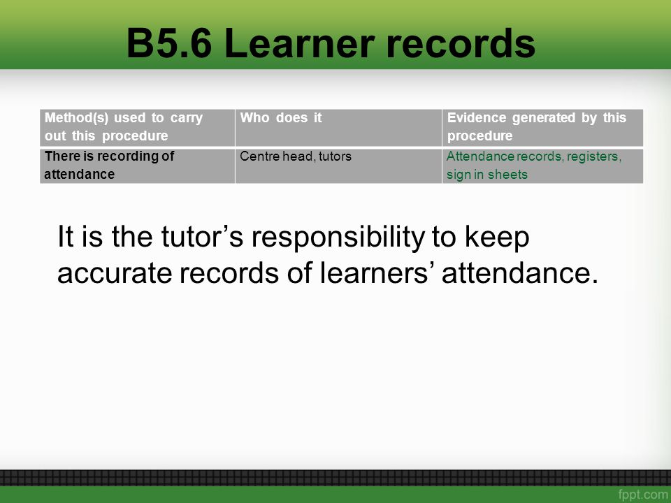 B5.6 Learner records Method(s) used to carry out this procedure Who does it Evidence generated by this procedure There is recording of attendance Centre head, tutorsAttendance records, registers, sign in sheets It is the tutor's responsibility to keep accurate records of learners' attendance.