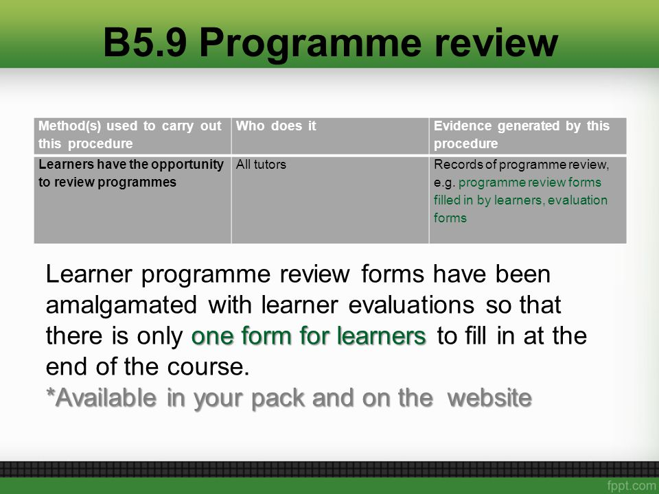 B5.9 Programme review Method(s) used to carry out this procedure Who does it Evidence generated by this procedure Learners have the opportunity to review programmes All tutorsRecords of programme review, e.g.