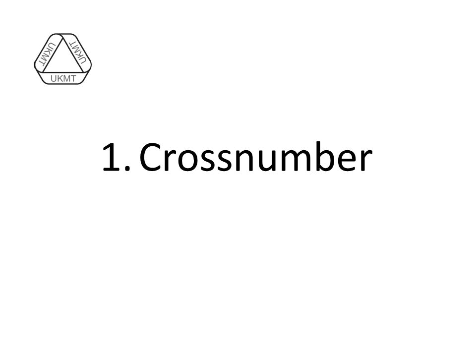 1.Crossnumber