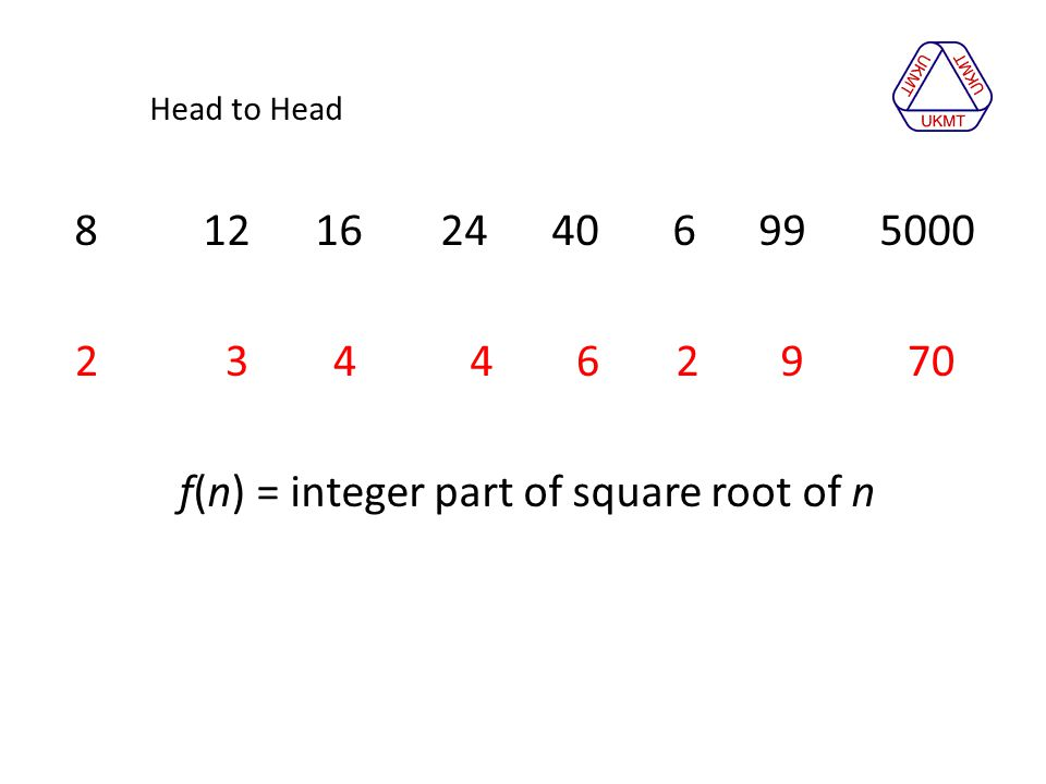Head to Head 8 12 16 24 40 6 99 5000 2 3 4 4 2 9 6 70 f(n) = integer part of square root of n