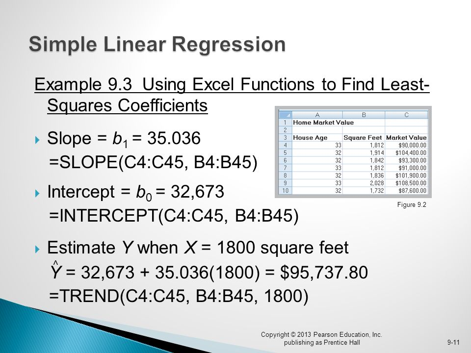Example 9.3 Using Excel Functions to Find Least- Squares Coefficients  Slope = b 1 = 35.036 =SLOPE(C4:C45, B4:B45)  Intercept = b 0 = 32,673 =INTERC