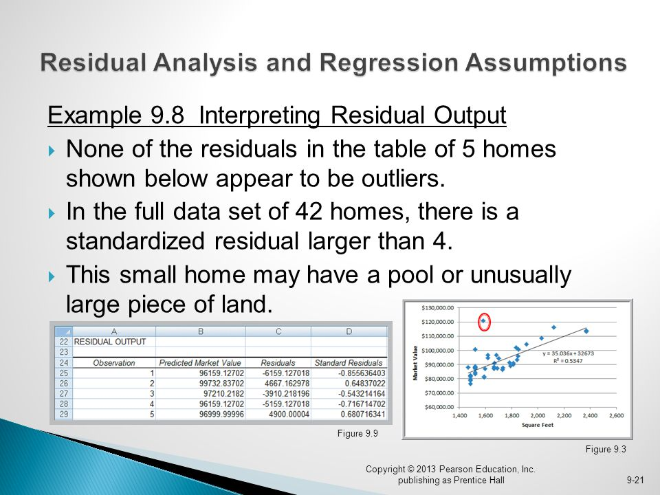 Example 9.8 Interpreting Residual Output  None of the residuals in the table of 5 homes shown below appear to be outliers.  In the full data set of