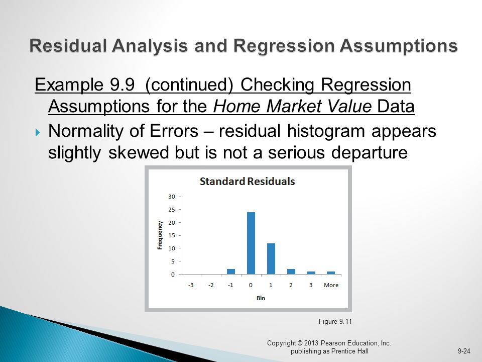 Example 9.9 (continued) Checking Regression Assumptions for the Home Market Value Data  Normality of Errors – residual histogram appears slightly ske