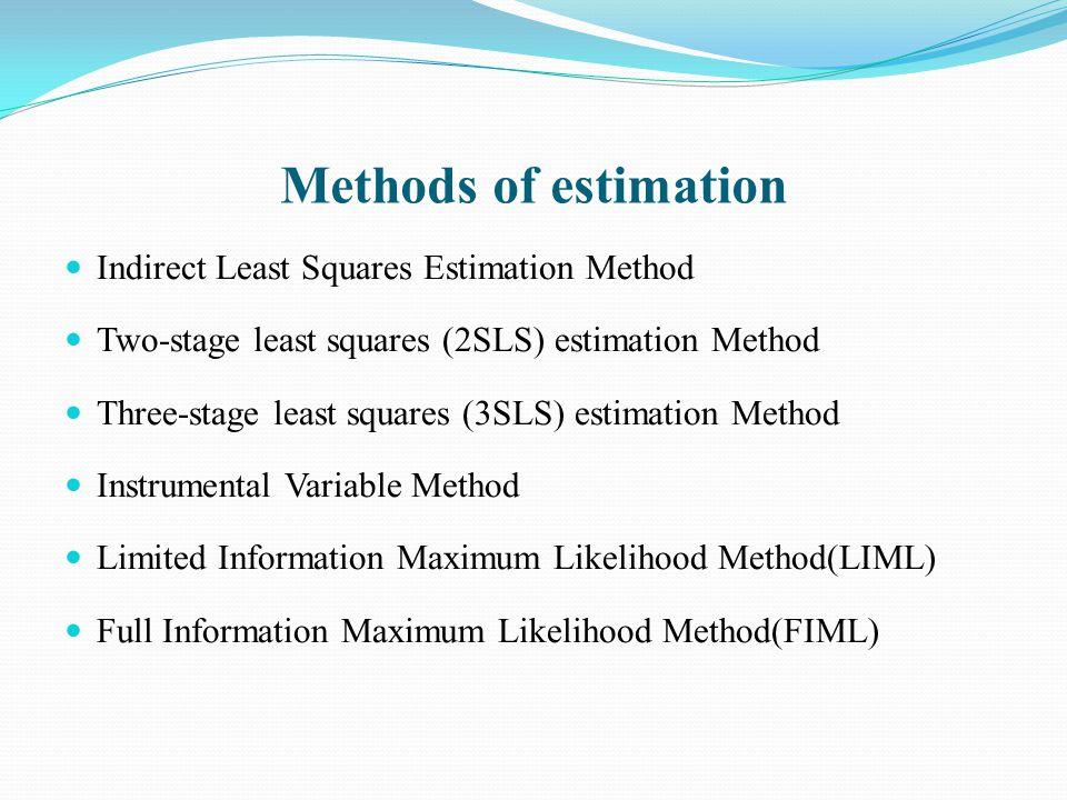 Methods of estimation Indirect Least Squares Estimation Method Two-stage least squares (2SLS) estimation Method Three-stage least squares (3SLS) estim