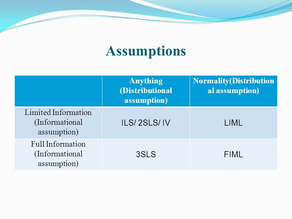 Assumptions Anything (Distributional assumption) Normality(Distribution al assumption) Limited Information (Informational assumption) ILS/ 2SLS/ IVLIM