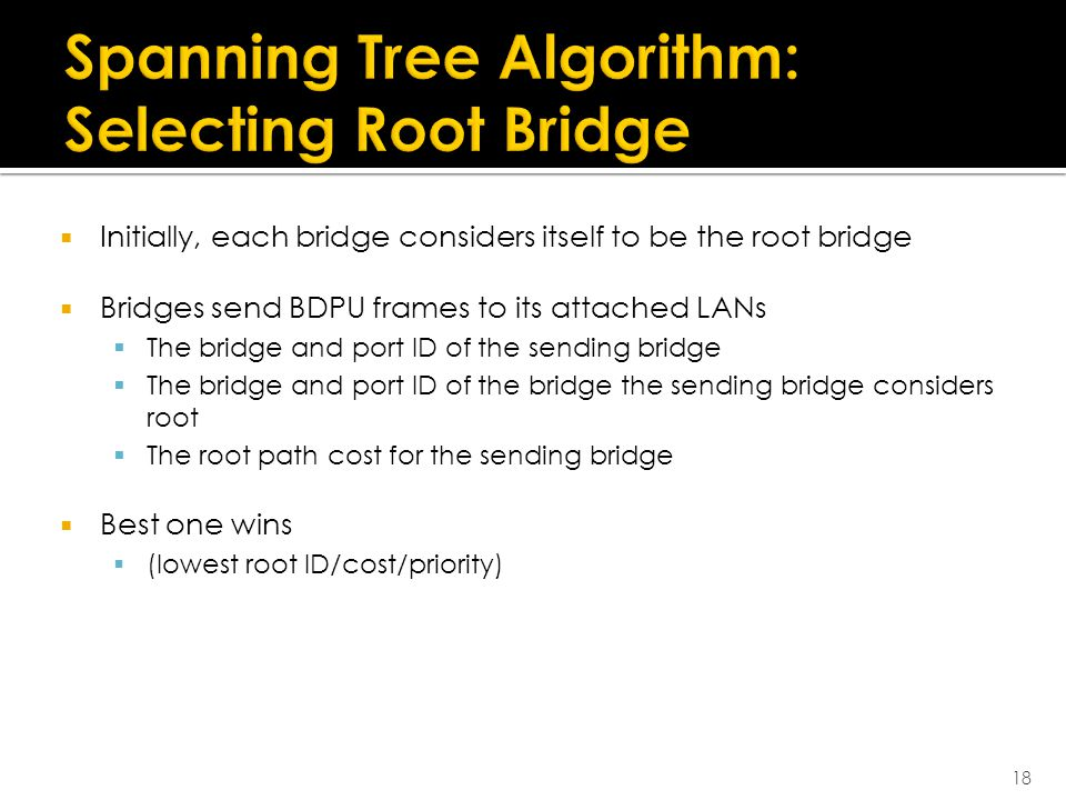  Initially, each bridge considers itself to be the root bridge  Bridges send BDPU frames to its attached LANs  The bridge and port ID of the sending bridge  The bridge and port ID of the bridge the sending bridge considers root  The root path cost for the sending bridge  Best one wins  (lowest root ID/cost/priority) 18