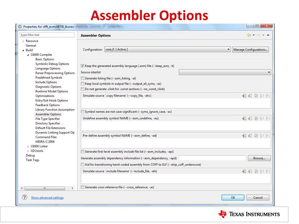 Assembler Options
