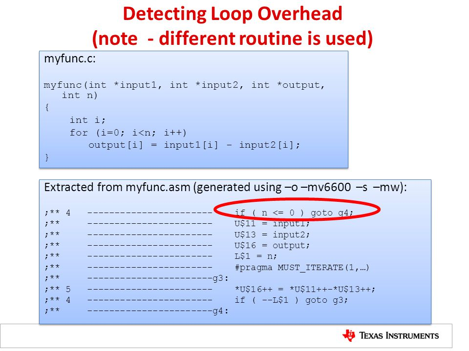 Detecting Loop Overhead (note - different routine is used) myfunc.c: myfunc(int *input1, int *input2, int *output, int n) { int i; for (i=0; i<n; i++)