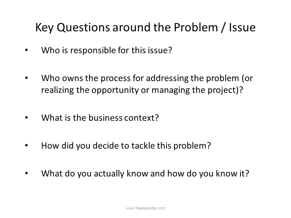 Key Questions around the Problem / Issue Who is responsible for this issue? Who owns the process for addressing the problem (or realizing the opportun