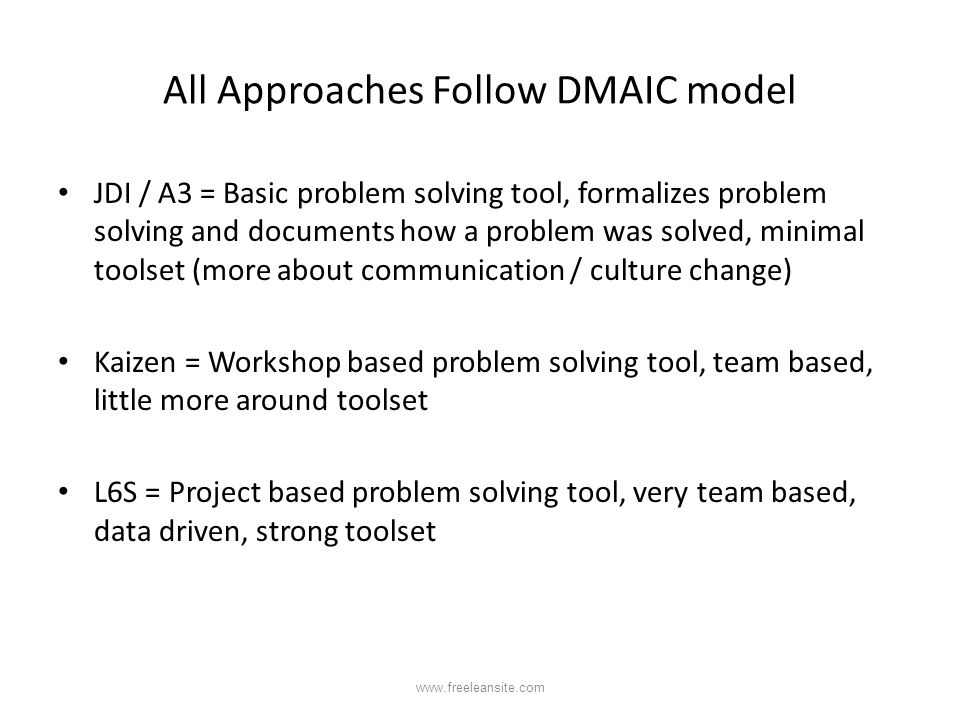 All Approaches Follow DMAIC model JDI / A3 = Basic problem solving tool, formalizes problem solving and documents how a problem was solved, minimal to