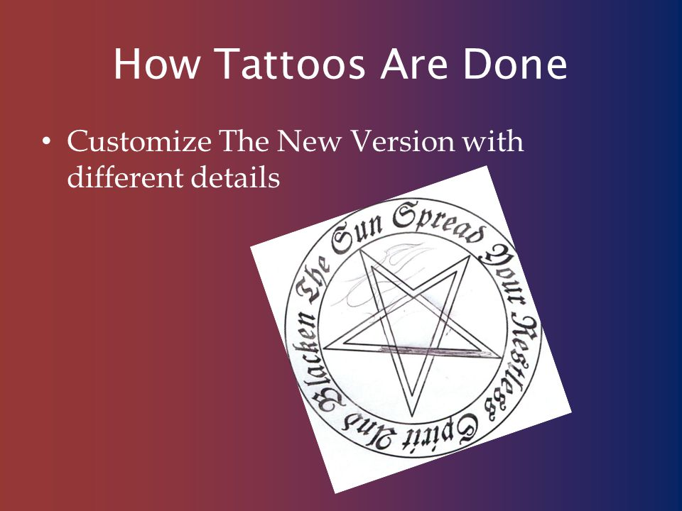 How Tattoos Are Done Customize The New Version with different details