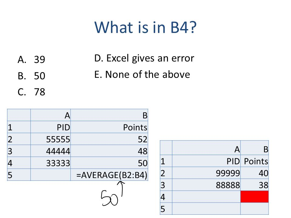 What is in B4? A.39 B.50 C.78 AB 1PIDPoints 25555552 34444448 43333350 5=AVERAGE(B2:B4) AB 1PIDPoints 29999940 38888838 4 5 D. Excel gives an error E.