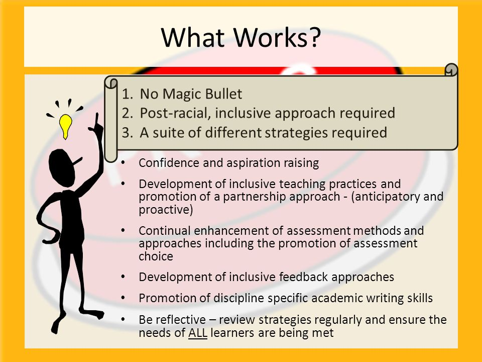 What Works? Confidence and aspiration raising Development of inclusive teaching practices and promotion of a partnership approach - (anticipatory and
