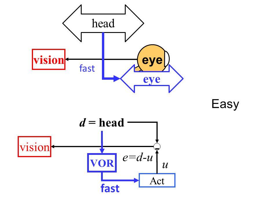 - vision d = head e=d-u Act u VOR fast Easy eye head vision eye fast