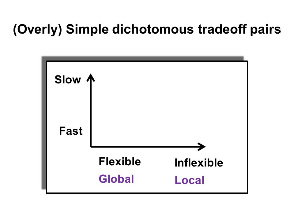 efficient Fast Slow Flexible Inflexible Global Local (Overly) Simple dichotomous tradeoff pairs