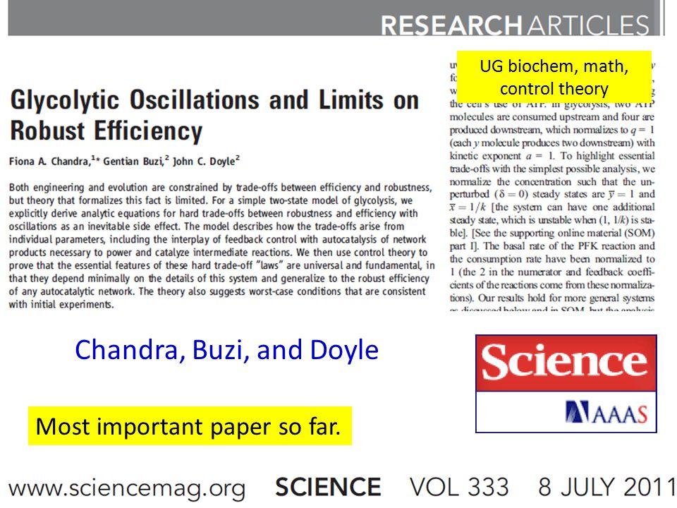 Chandra, Buzi, and Doyle UG biochem, math, control theory Most important paper so far.