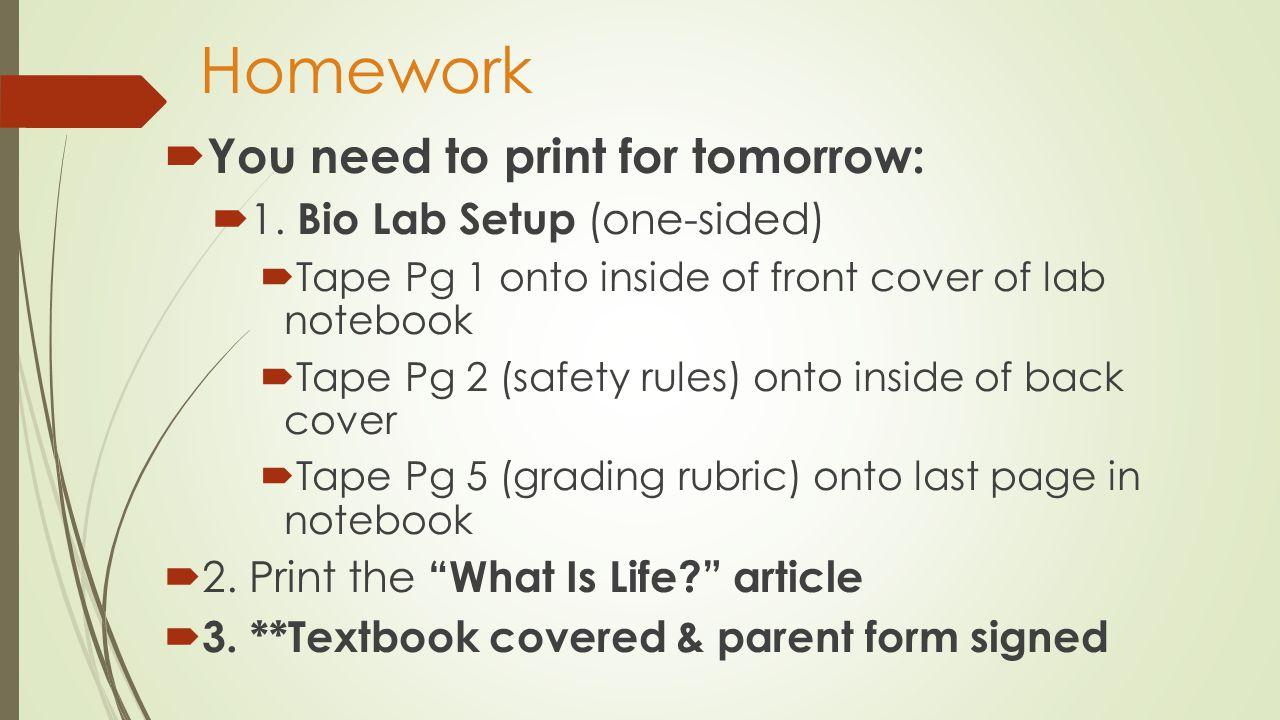 Lab Notebook Setup Reference the Biology Lab Notebook Setup on my website.