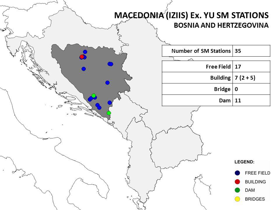 Number of SM Stations35 Free Field17 Building7 (2 + 5) Bridge0 Dam11 MACEDONIA (IZIIS) Ex. YU SM STATIONS BOSNIA AND HERTZEGOVINA