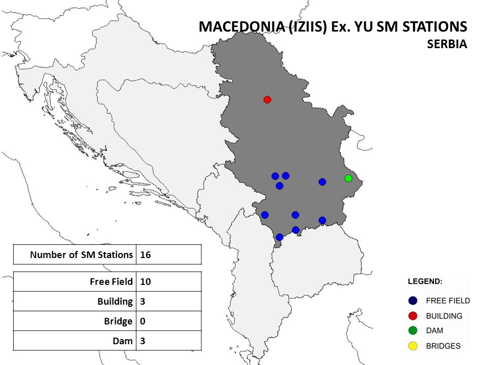 Number of SM Stations16 Free Field10 Building3 Bridge0 Dam3 MACEDONIA (IZIIS) Ex.