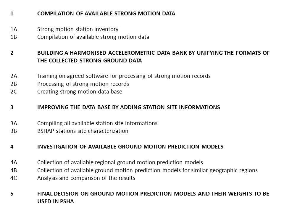 1COMPILATION OF AVAILABLE STRONG MOTION DATA 1AStrong motion station inventory 1BCompilation of available strong motion data 2BUILDING A HARMONISED ACCELEROMETRIC DATA BANK BY UNIFYING THE FORMATS OF THE COLLECTED STRONG GROUND DATA 2ATraining on agreed software for processing of strong motion records 2BProcessing of strong motion records 2CCreating strong motion data base 3IMPROVING THE DATA BASE BY ADDING STATION SITE INFORMATIONS 3ACompiling all available station site informations 3BBSHAP stations site characterization 4INVESTIGATION OF AVAILABLE GROUND MOTION PREDICTION MODELS 4ACollection of available regional ground motion prediction models 4BCollection of available ground motion prediction models for similar geographic regions 4CAnalysis and comparison of the results 5FINAL DECISION ON GROUND MOTION PREDICTION MODELS AND THEIR WEIGHTS TO BE USED IN PSHA