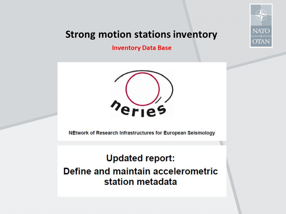 Strong motion stations inventory Inventory Data Base