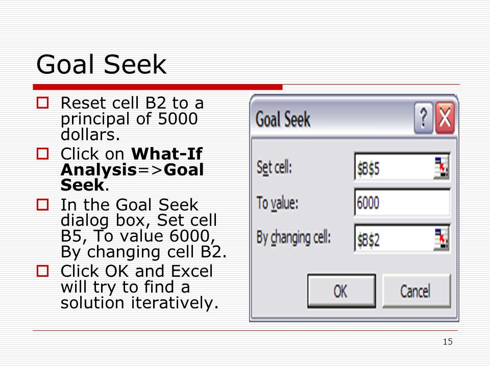 15 Goal Seek  Reset cell B2 to a principal of 5000 dollars.