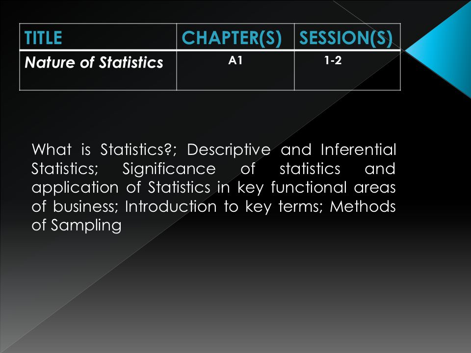 Types of variables; Types of data; Organization and graphical presentation of discrete and continuous data; TITLECHAPTER(S)SESSION(S) Descriptive Statistics A2, B3.1, B3.2 2-4