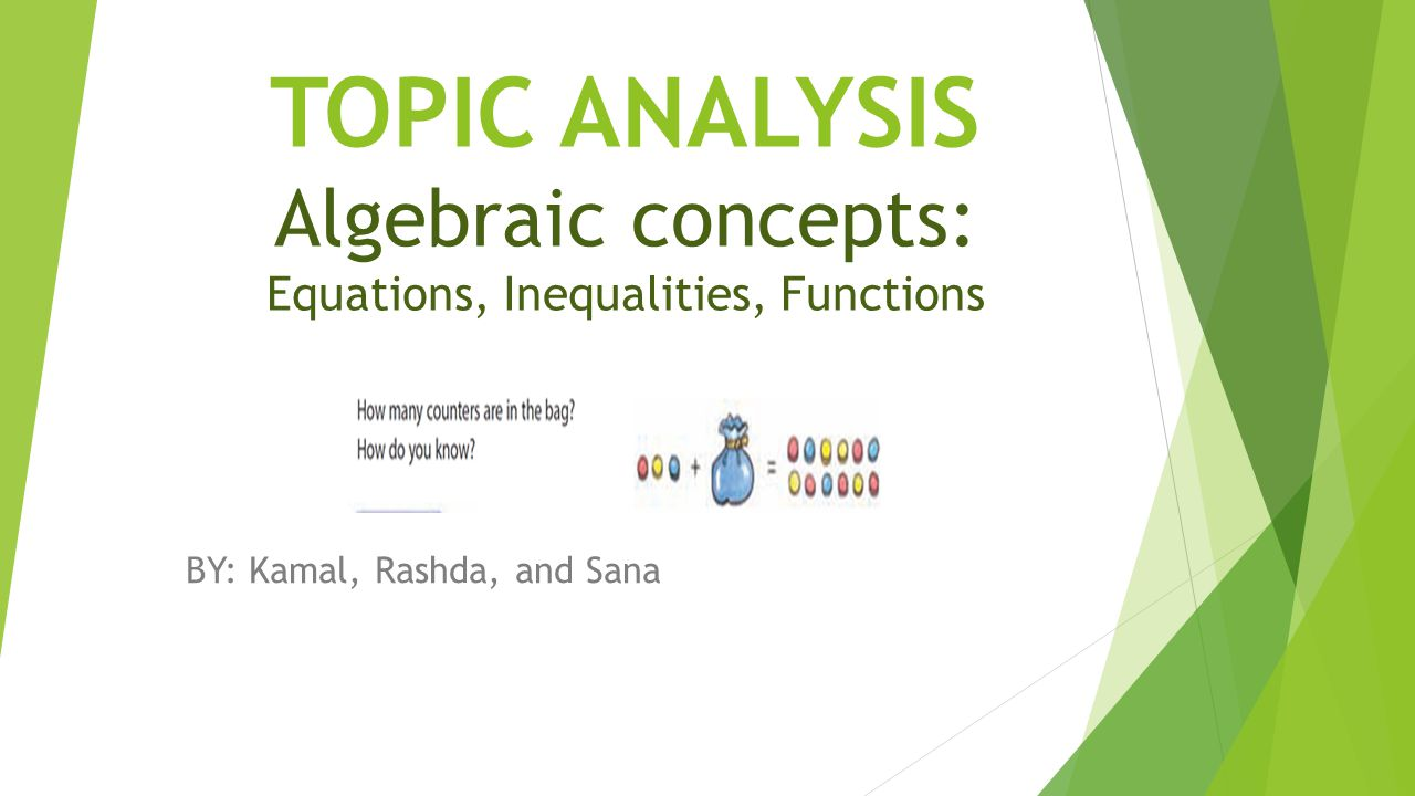 TOPIC ANALYSIS Algebraic concepts: Equations, Inequalities, Functions BY: Kamal, Rashda, and Sana