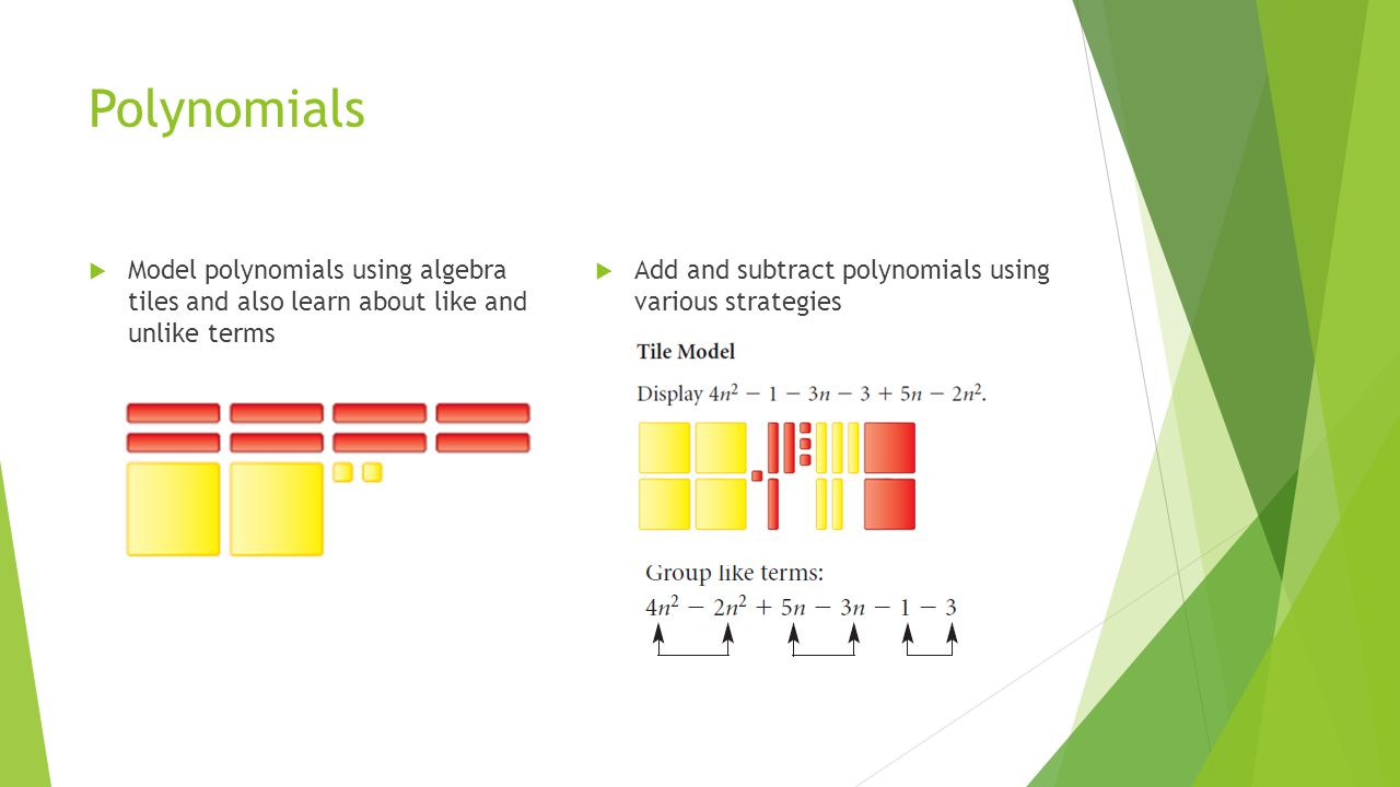 Polynomials  Model polynomials using algebra tiles and also learn about like and unlike terms  Add and subtract polynomials using various strategies