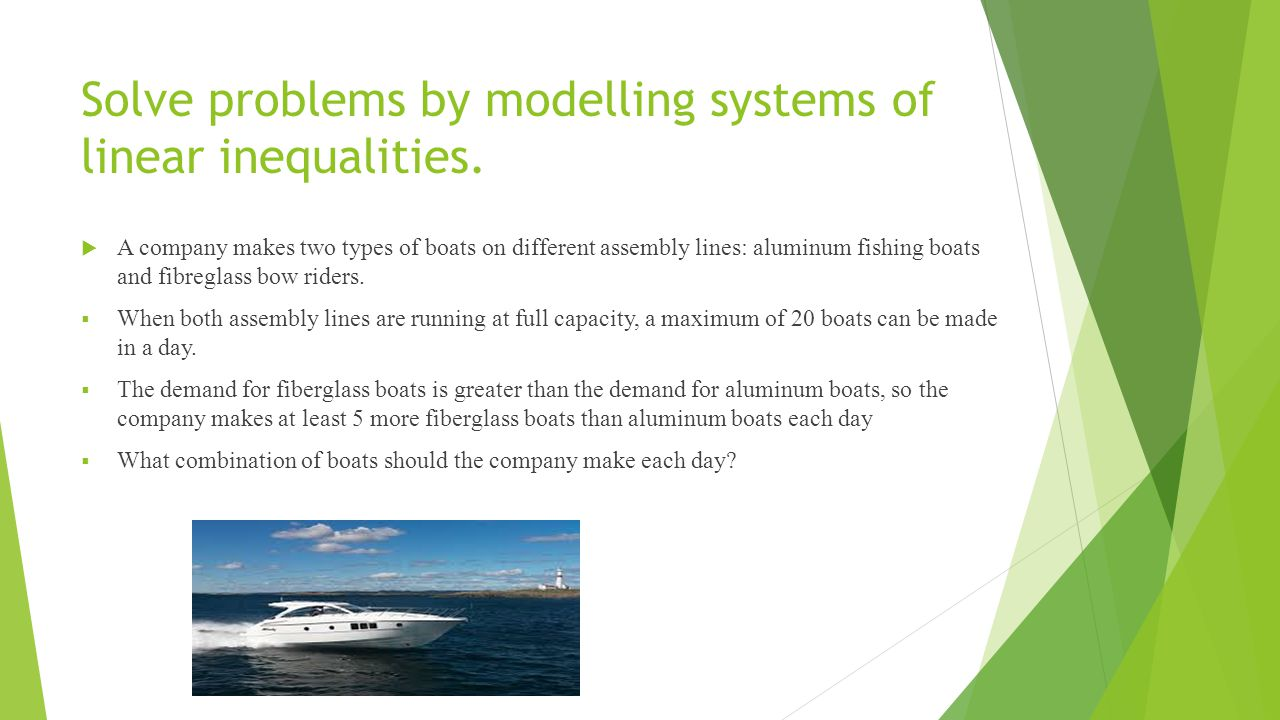 Solve problems by modelling systems of linear inequalities.  A company makes two types of boats on different assembly lines: aluminum fishing boats a