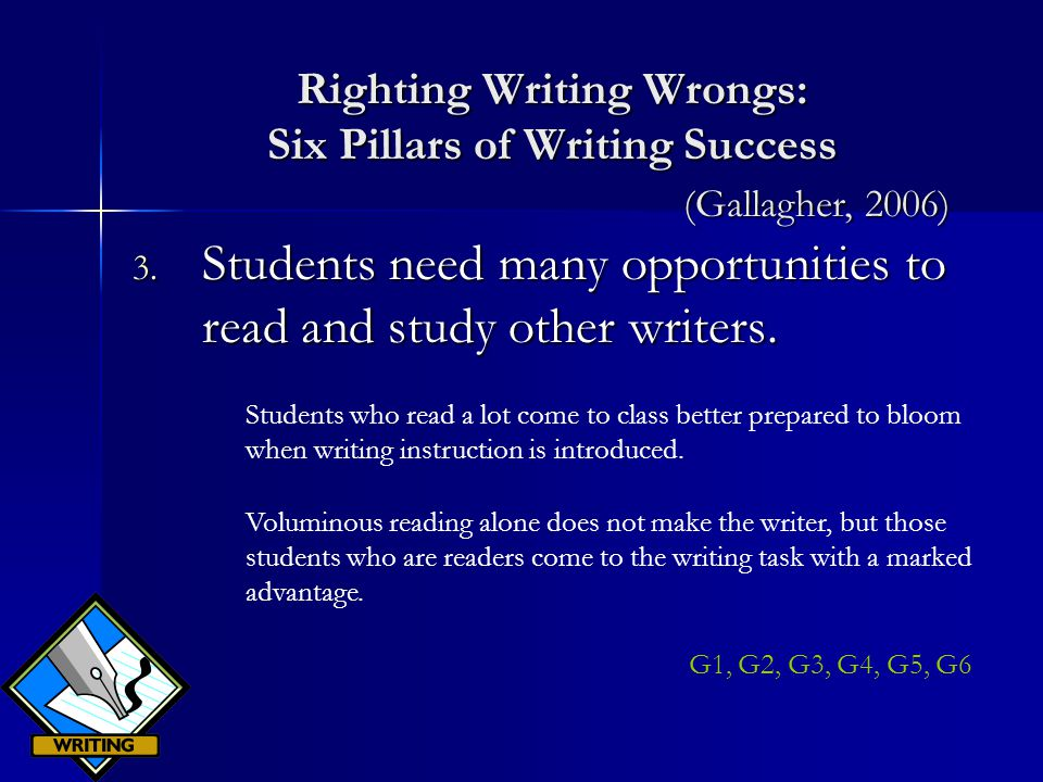 Righting Writing Wrongs: Six Pillars of Writing Success 3.