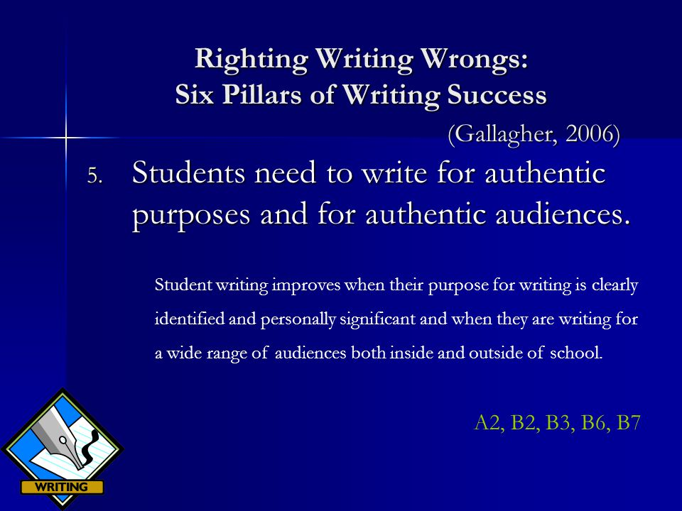 Righting Writing Wrongs: Six Pillars of Writing Success 5.
