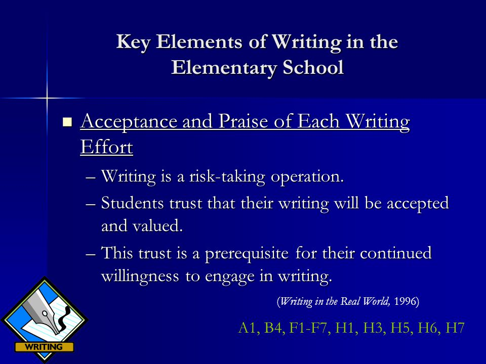 Key Elements of Writing in the Elementary School Acceptance and Praise of Each Writing Effort Acceptance and Praise of Each Writing Effort –Writing is a risk-taking operation.