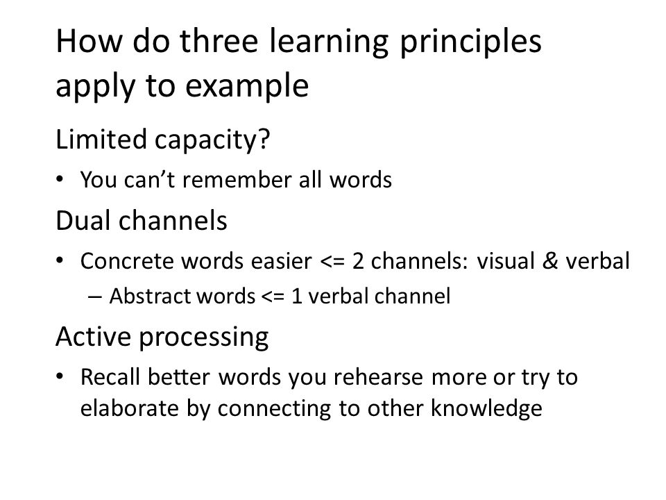 How do three learning principles apply to example Limited capacity.