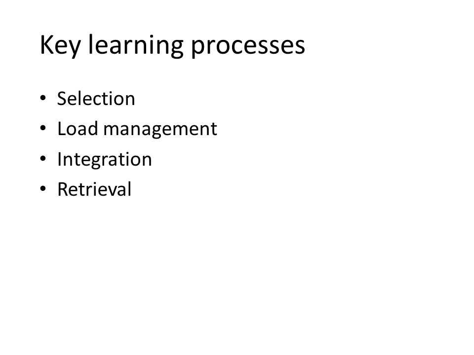Key learning processes Selection Load management Integration Retrieval