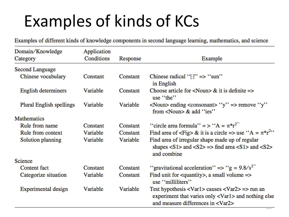 Examples of kinds of KCs 28