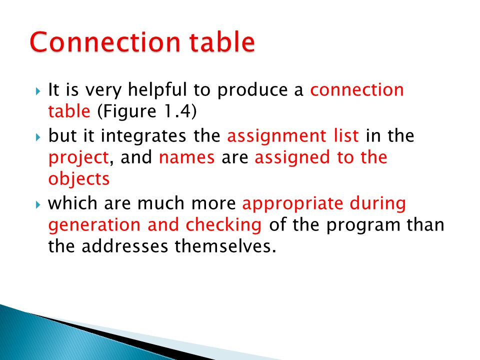  It is very helpful to produce a connection table (Figure 1.4)  but it integrates the assignment list in the project, and names are assigned to the