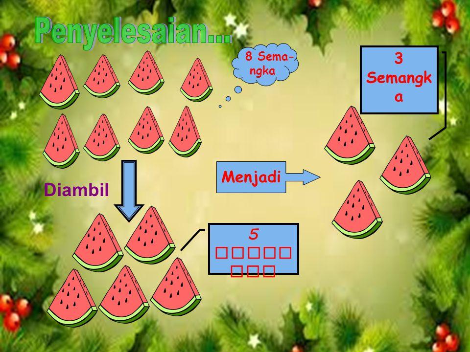 2. Ibu mempunyai 8 potong semangka, diberikan kepada kakak 2, ayah 1, dan adik 2.